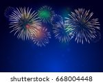 brightly colorful fireworks on... | Shutterstock .eps vector #668004448