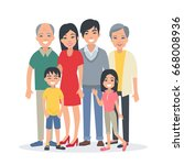 asian family portrait with... | Shutterstock . vector #668008936