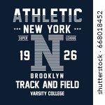 new york  brooklyn typography... | Shutterstock .eps vector #668018452