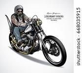 senior biker riding a chopper... | Shutterstock .eps vector #668035915