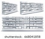 shelves with blank goods in the ... | Shutterstock . vector #668041858