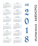 calendar grid for 2018 with... | Shutterstock .eps vector #668042902
