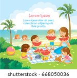 kids at the kinder garden... | Shutterstock .eps vector #668050036