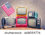 retro old television receivers  ... | Shutterstock . vector #668054776