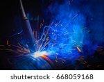welding steel structures and... | Shutterstock . vector #668059168