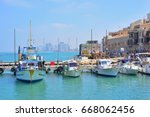 old town and port of jaffa of... | Shutterstock . vector #668062456