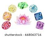 rainbow chakra stones set with...   Shutterstock . vector #668063716