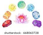 rainbow chakra stones set for... | Shutterstock . vector #668063728