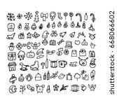 doodle christmas icons. hand... | Shutterstock . vector #668066602
