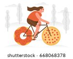 a woman riding a bicycle with... | Shutterstock .eps vector #668068378