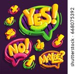 yes  no  maybe icon cartoon set ... | Shutterstock .eps vector #668075392
