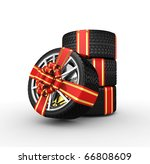 tire with ribbon   3d render | Shutterstock . vector #66808609