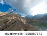 skyrunning woman training in...   Shutterstock . vector #668087872