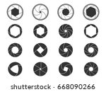 set of camera shutter aperture... | Shutterstock .eps vector #668090266
