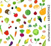 seamless pattern fruits and... | Shutterstock .eps vector #668095462
