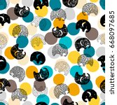 seamless pattern with cute...   Shutterstock .eps vector #668097685