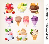 set of colorful tasty isolated... | Shutterstock .eps vector #668098018