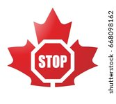 red maple leaf with stop sign... | Shutterstock .eps vector #668098162