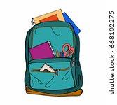 green school bag    Shutterstock . vector #668102275
