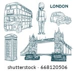 london landmark symbols in... | Shutterstock .eps vector #668120506