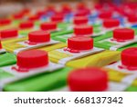 Colorful juice cartons with red ...