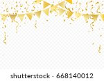 golden party flags with... | Shutterstock .eps vector #668140012