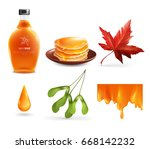 maple syrup set with product in ... | Shutterstock .eps vector #668142232