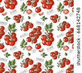 seamless pattern with tomatoes  ... | Shutterstock .eps vector #668142748