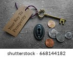 coins with gold key and