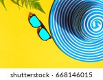 blue hat and sunglasses on... | Shutterstock . vector #668146015
