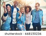 carefree laughing black and... | Shutterstock . vector #668150236