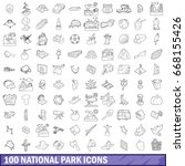 100 national park icons set in... | Shutterstock .eps vector #668155426