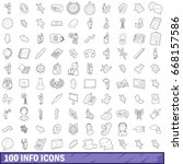 100 info icons set in outline... | Shutterstock .eps vector #668157586