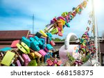 hundred lock view on the...   Shutterstock . vector #668158375