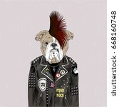 english bulldog punk  furry art ... | Shutterstock .eps vector #668160748