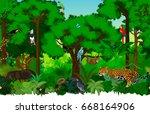 vector seamless rainforest... | Shutterstock .eps vector #668164906