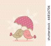 birds under umbrella | Shutterstock .eps vector #66816706
