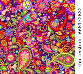hippie vivid wallpaper with... | Shutterstock .eps vector #668172832