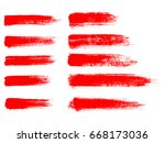 painted grunge stripes set. red ... | Shutterstock .eps vector #668173036