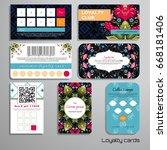 set of loyalty cards. dark... | Shutterstock .eps vector #668181406