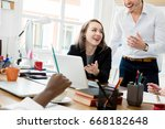 smiling business colleagues... | Shutterstock . vector #668182648