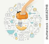 cooking class concept... | Shutterstock .eps vector #668182948