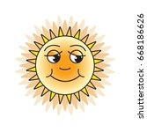 shining sun with smile vector... | Shutterstock .eps vector #668186626