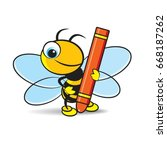colorful cartoon bee holding a... | Shutterstock .eps vector #668187262