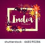 india background banner... | Shutterstock .eps vector #668190286