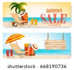 two summer sale banners with... | Shutterstock .eps vector #668190736