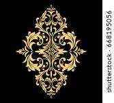 golden pattern on a black... | Shutterstock . vector #668195056
