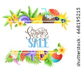 tropical summer objects in... | Shutterstock .eps vector #668195215