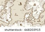 old map of the north sea ... | Shutterstock .eps vector #668203915