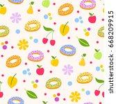 donuts tasty coockie seeamless... | Shutterstock .eps vector #668209915